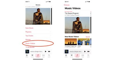 Music Videos section in Apple Music