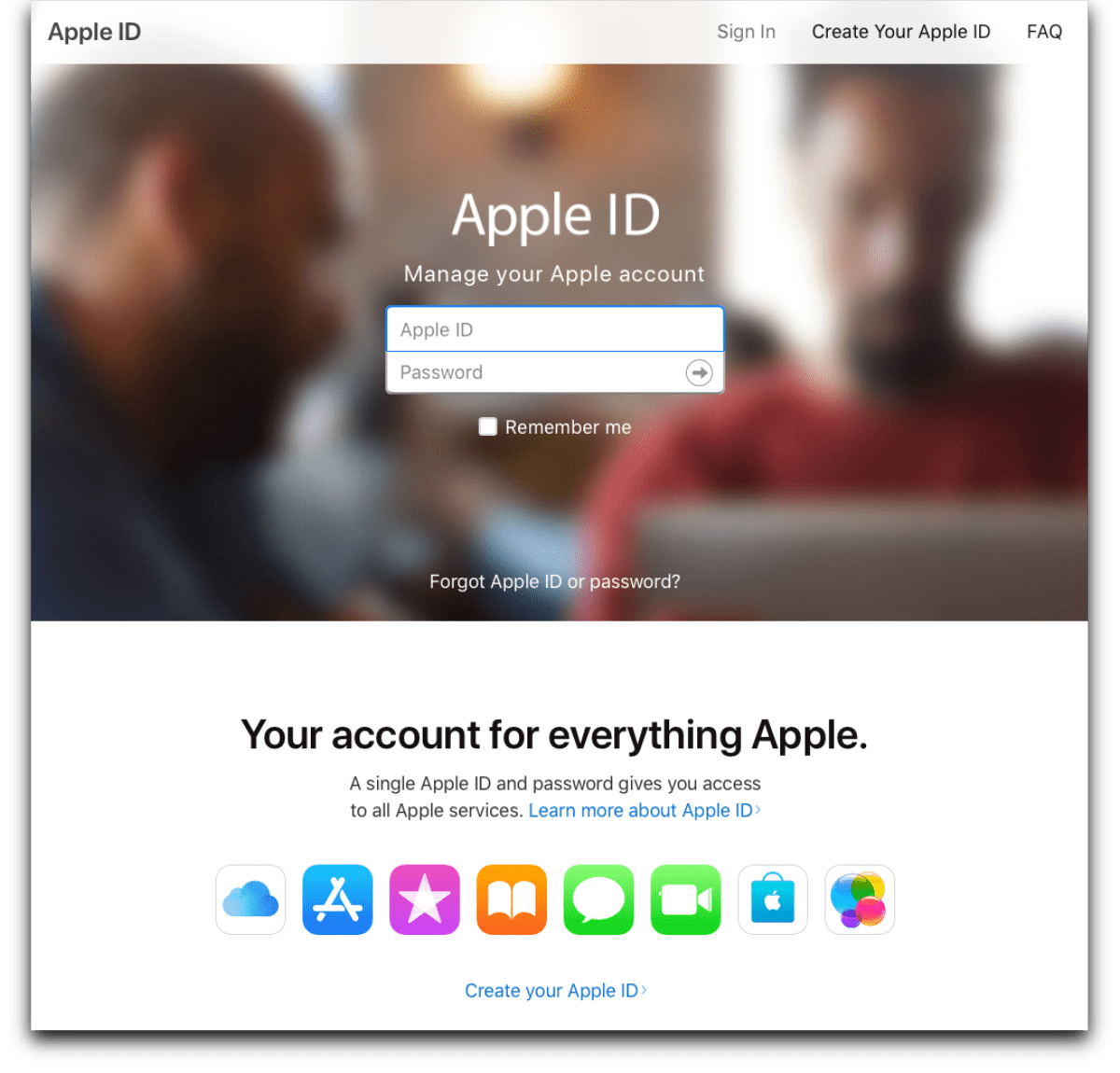 The Apple ID page where you'll be able to download your Apple profile data.