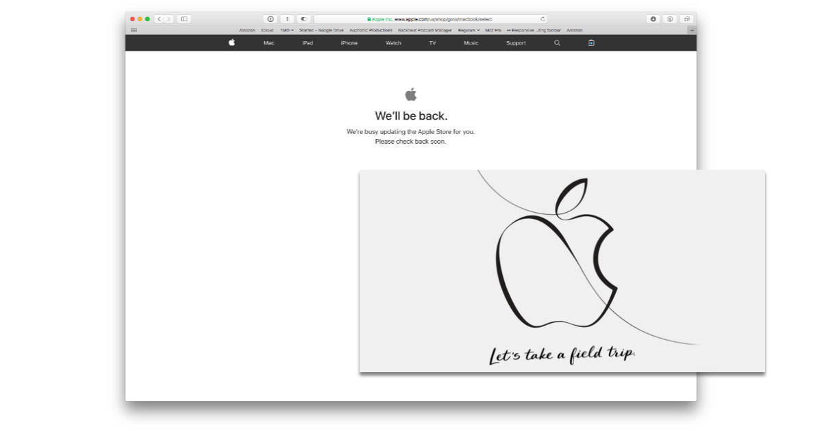 "Apple Store offline for ""Let's take a field trip"" media event"