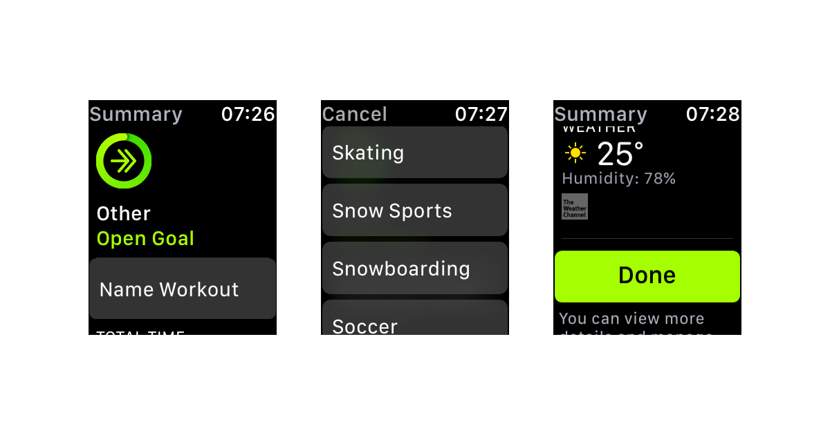 Snowboarding and other snow sport options for activity tracking on Apple Watch