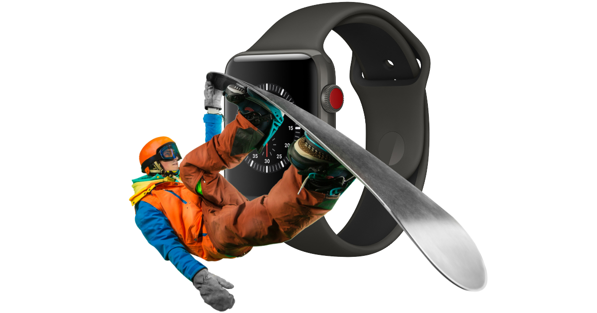Snowboarder jumping in front of Apple Watch