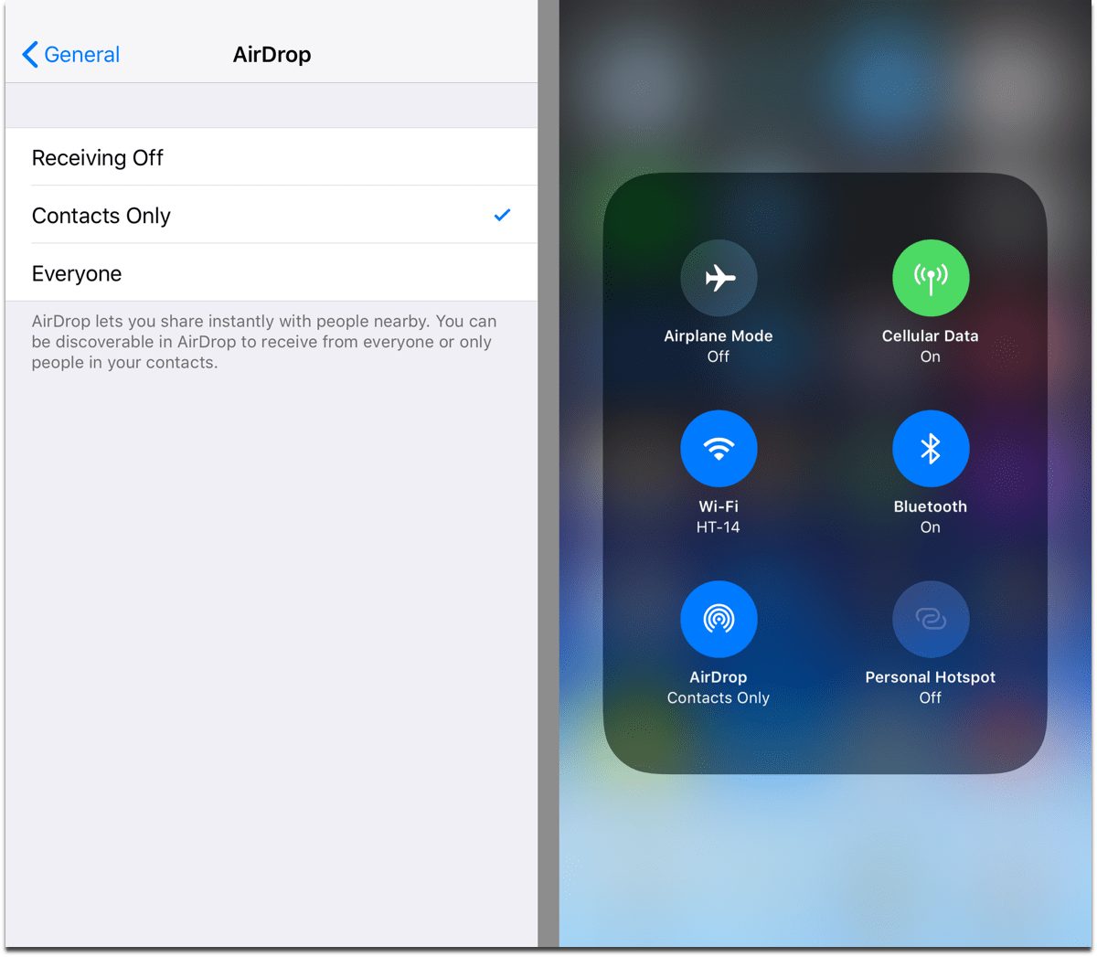 Change iOS AirDrop settings in Control Center and the Settings app.