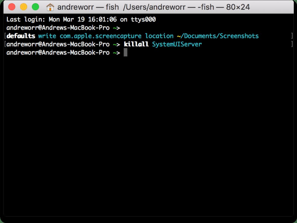 Change screenshot location using a Terminal command.