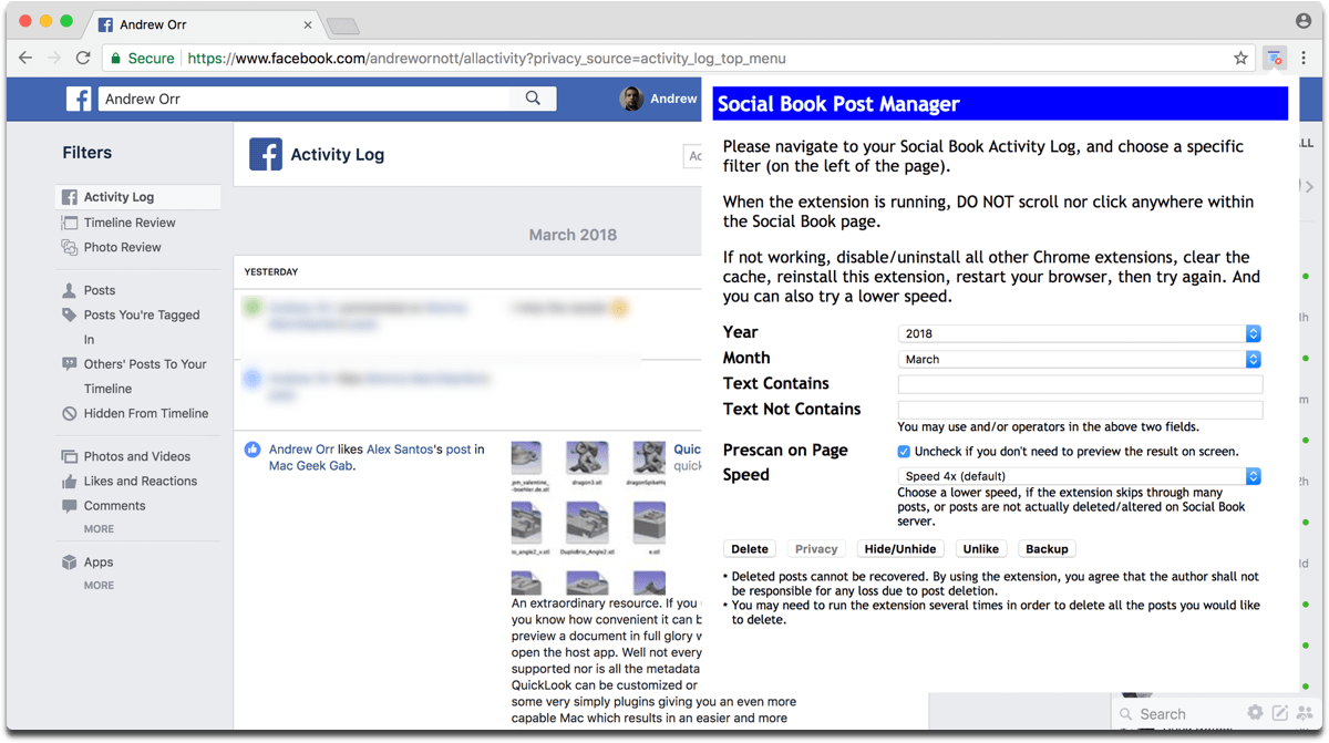 Delete Facebook content with Social Book Post Manager.
