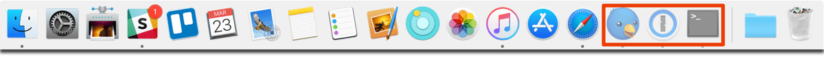 Screenshot of the Mac dock, where you can dim hidden Mac apps and their icos.