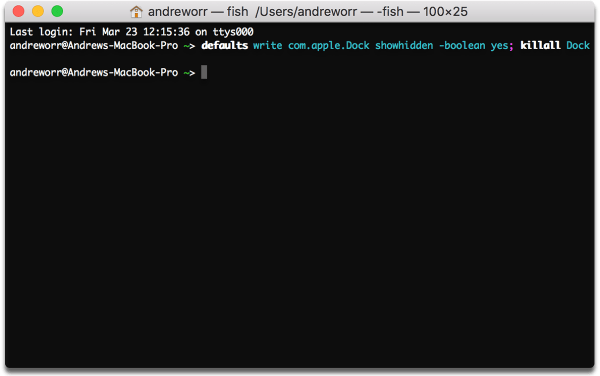 Terminal command for hidden Mac apps in the dock.