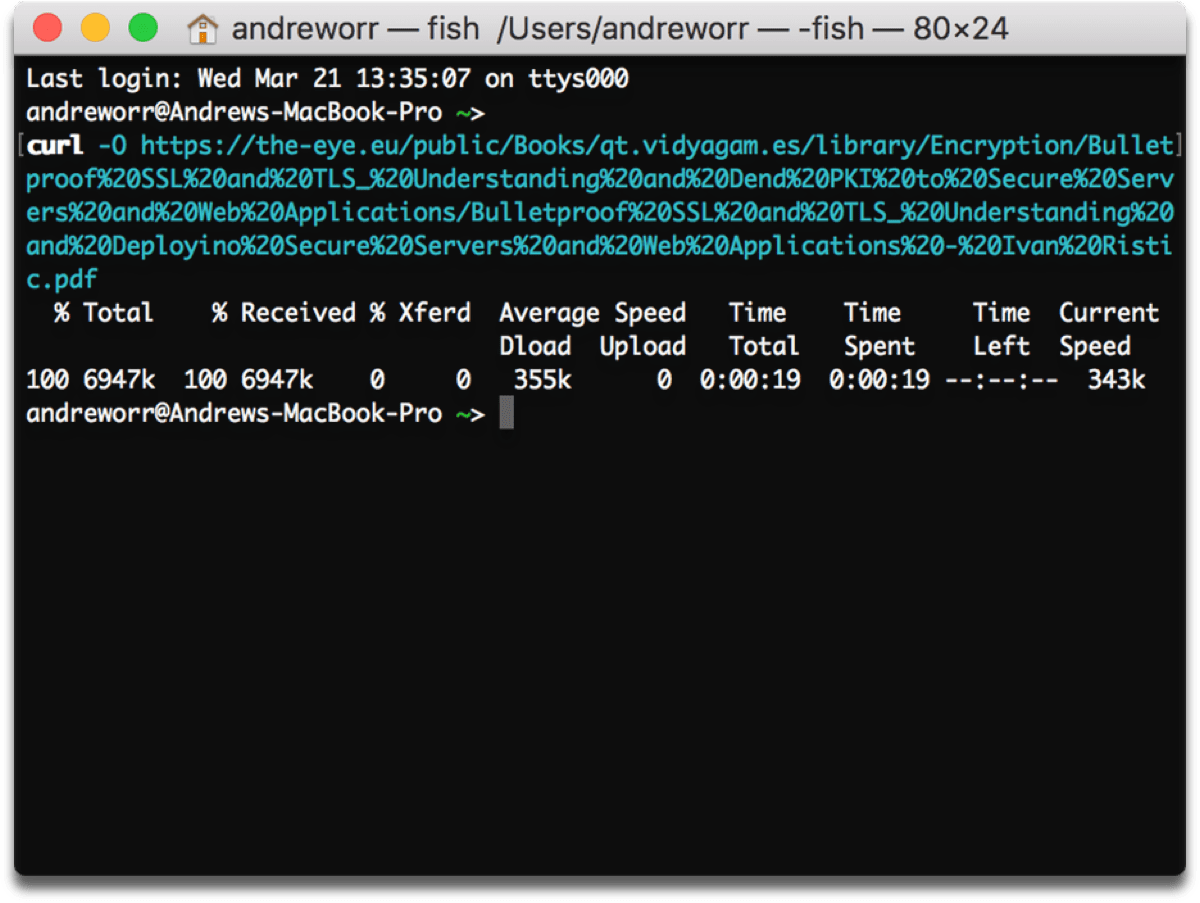 Download files in Terminal command.