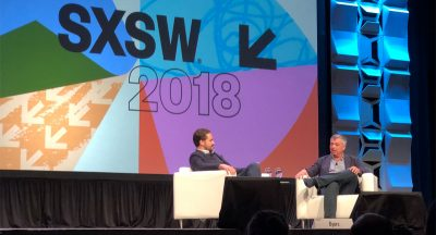 Dylan Byers and Eddy Cue on stage at SXSW 2018