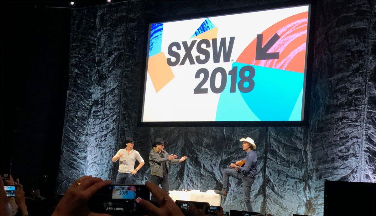 Jonathan Nolan, Elon Musk, and Kimball Musk at SxSW, 2018