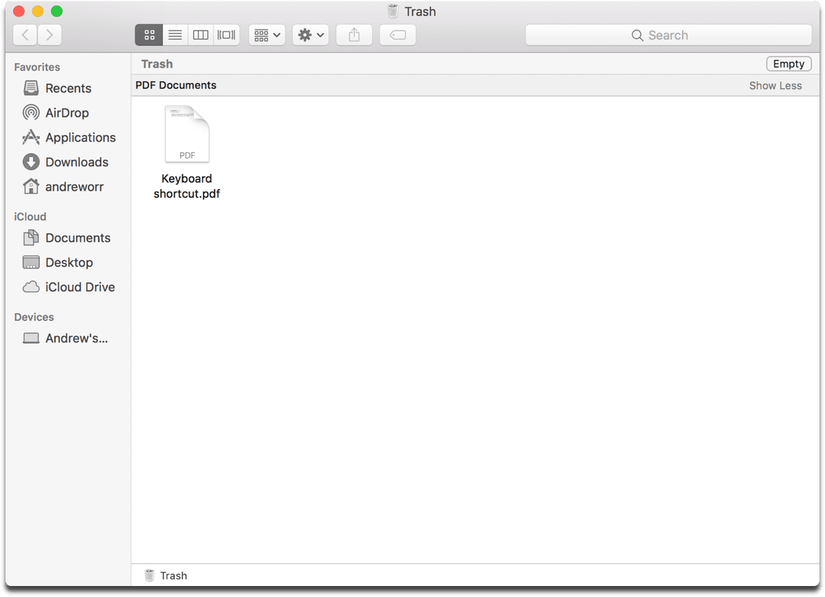 Screenshot of macOS Trash in Finder. You can empty it with a keyboard shortcut.