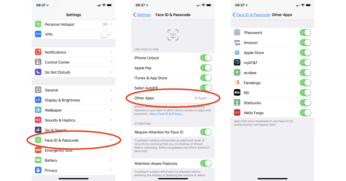 iPhone X Face ID settings to disable specific apps from authenticating with your face