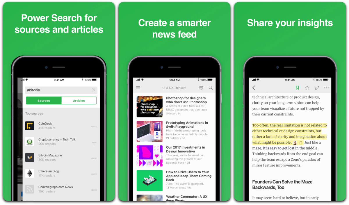 Screenshots of Feedly in our list of Facebook app alternatives.