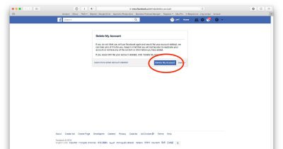 Facebook's Delete My Account option