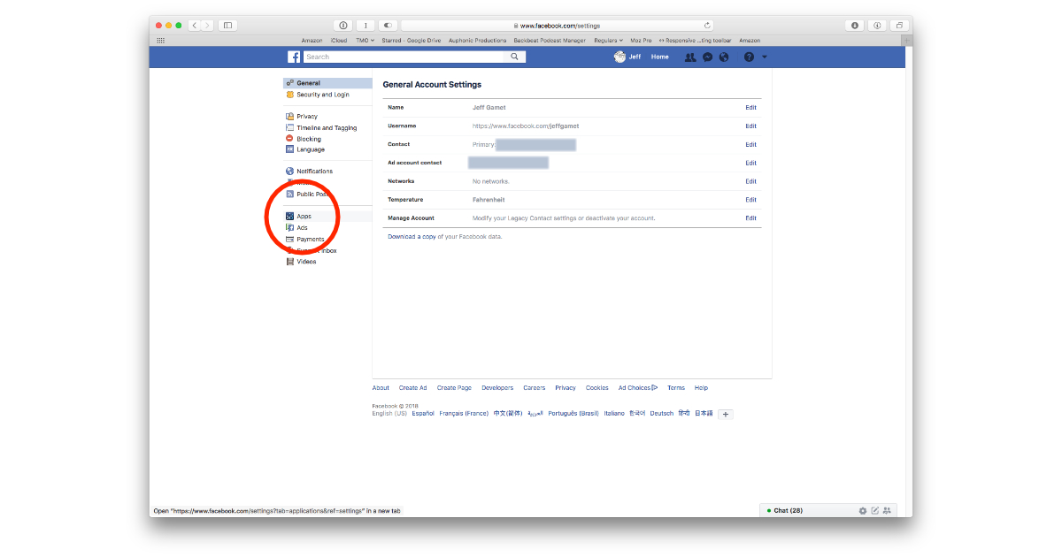 Facebook Apps settings for Platform