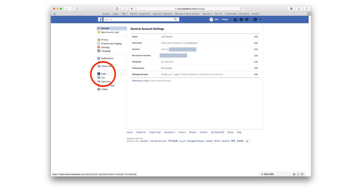 Facebook Apps settings for Platform