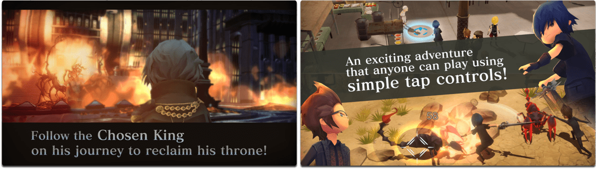 Screenshots of Final Fantasy XV Pocket Edition, one of the iOS RPG games.