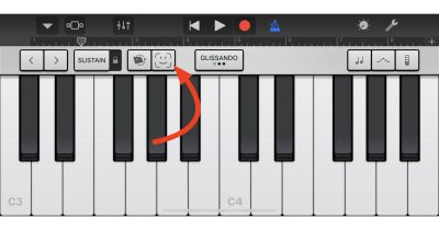 GarageBand face tracking button on iPhone X