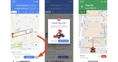 Google Maps on iPhone with Mario as the navigation pointer