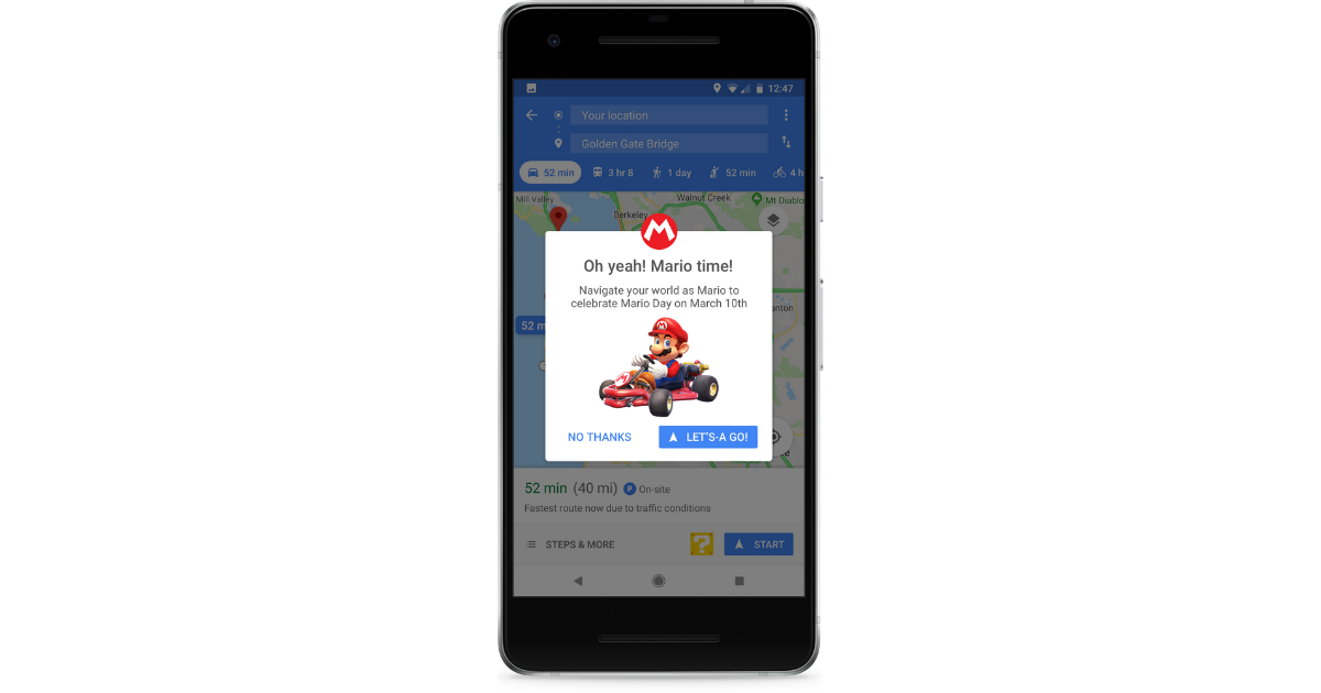 Google Maps Adds Mario to Navigation, Presumably Avoids Bowser