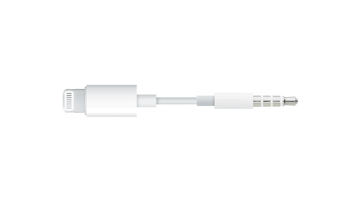 Headphone jack to lightning adapter.