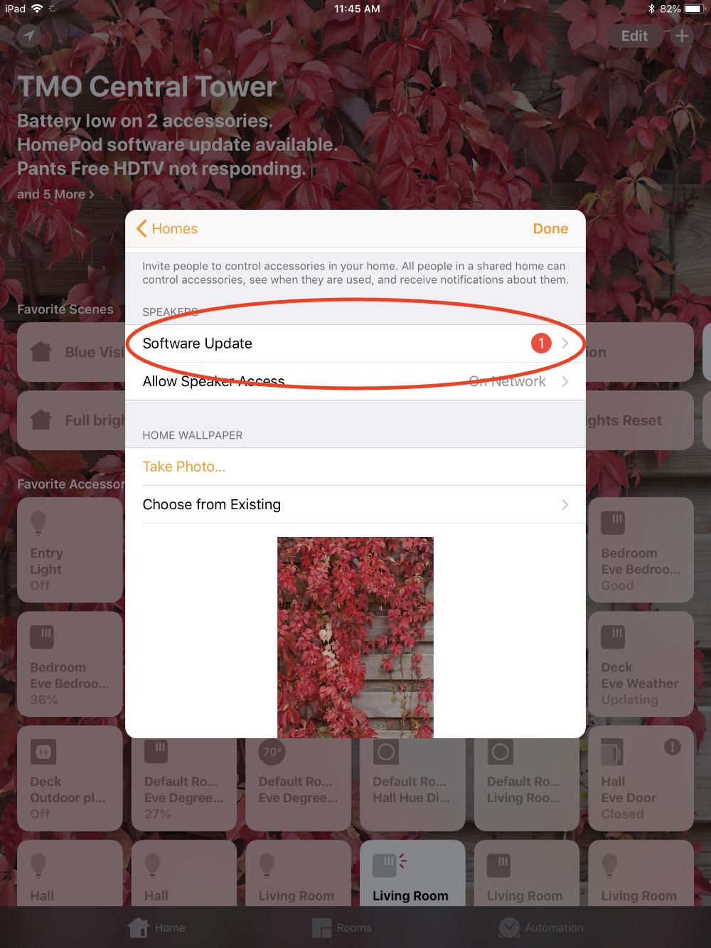 HomePod software update alert badge in Home app settings