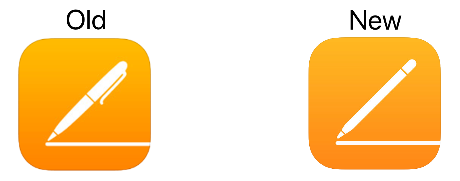 iOS Pages app icon: Old versus New.