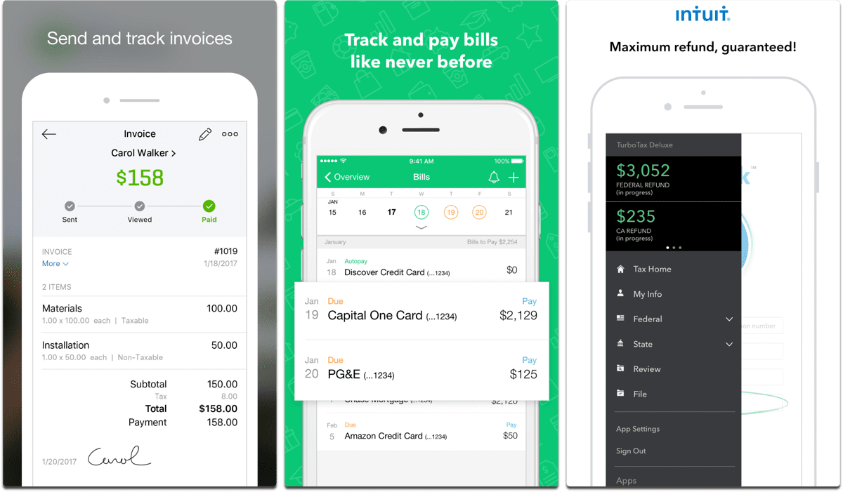 Screenshots of Mint, Quickbooks, and TurboTax in our list of female app developers.