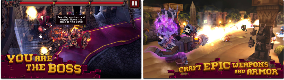 Screenshots of Like a Boss, one of the iOS RPG games.