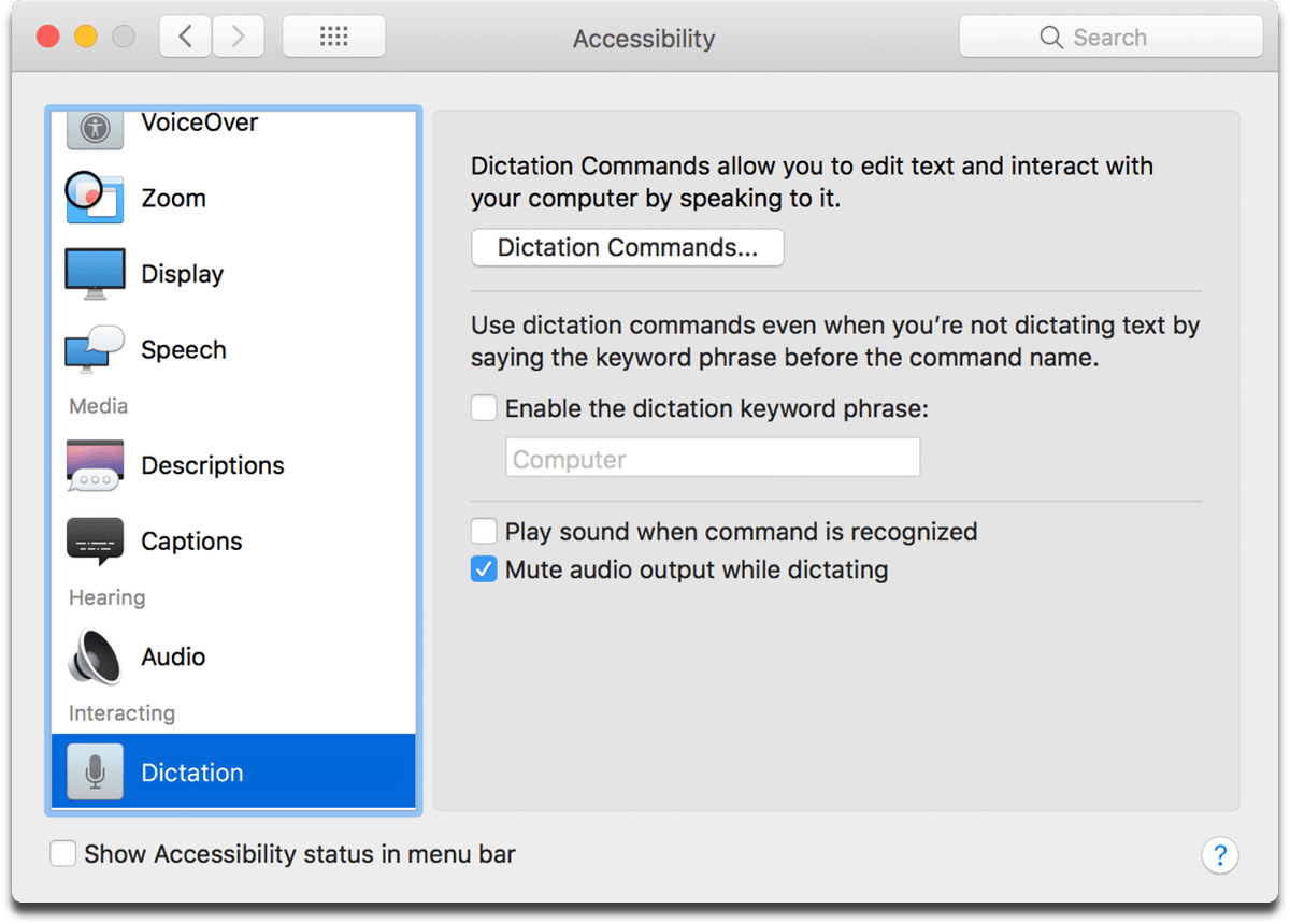 List of Mac Dictation commands.