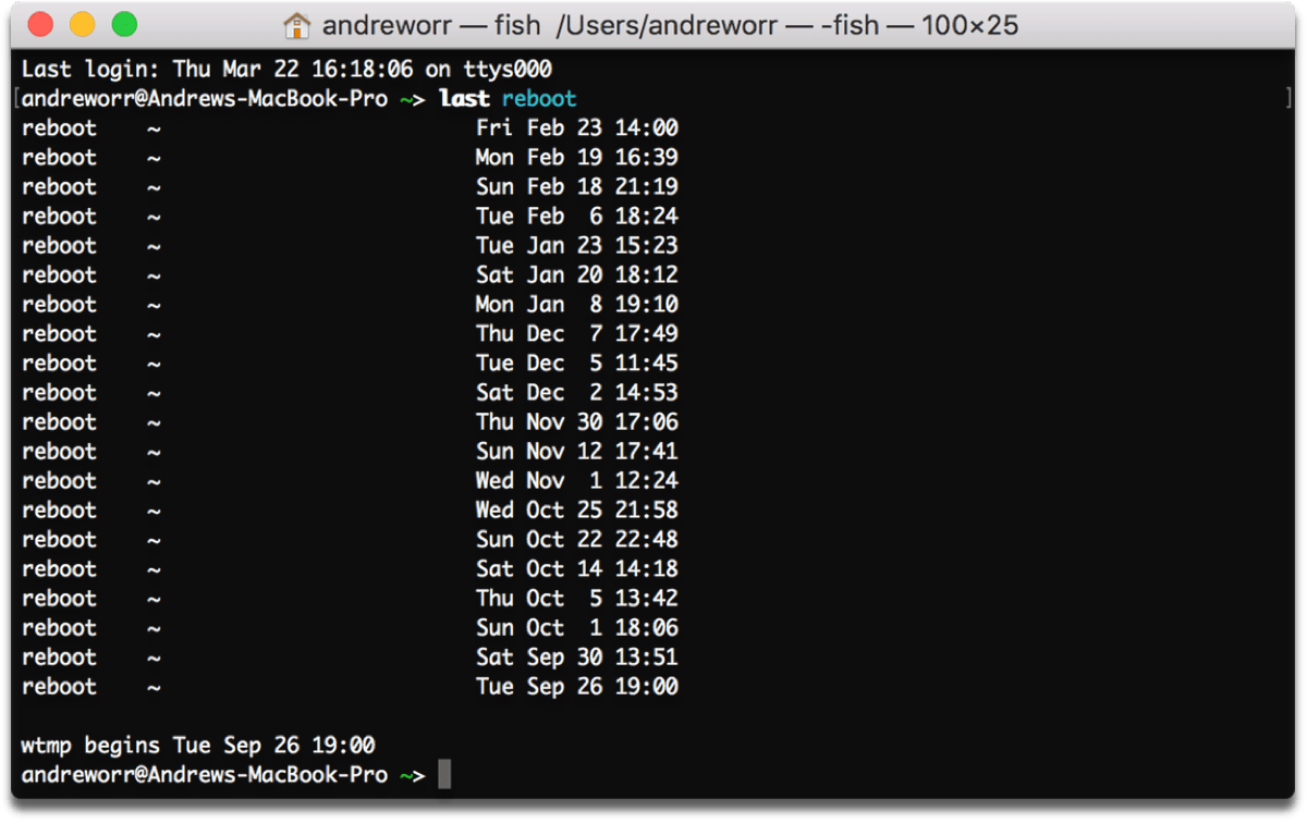 Find out the Mac system uptime in Terminal. You can also find out the reboot history, as pictured here.