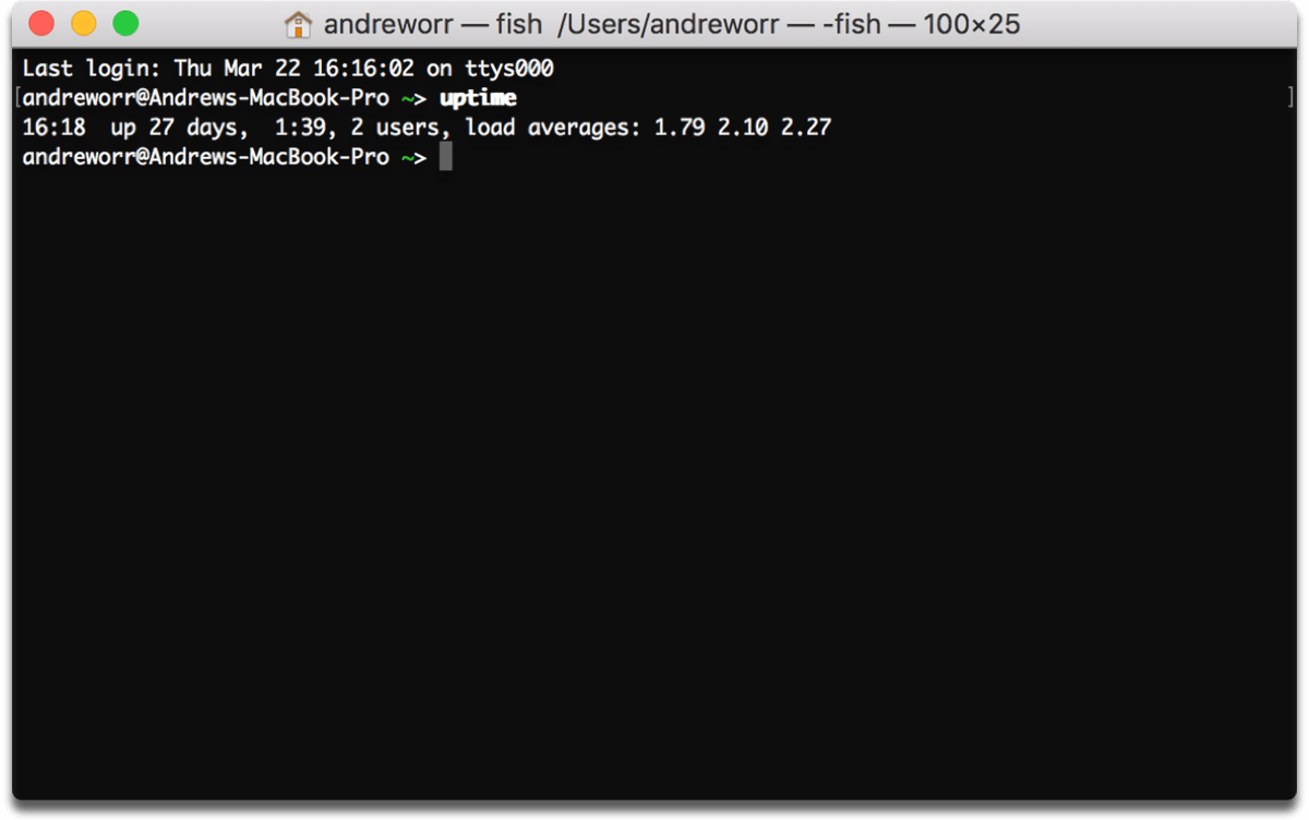 Mac system uptime command in Terminal.