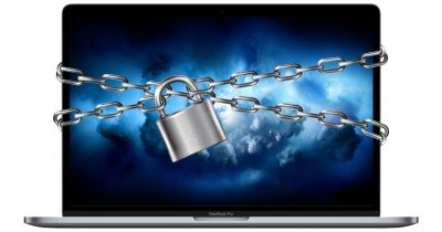 MacBook Pro with lock and chain