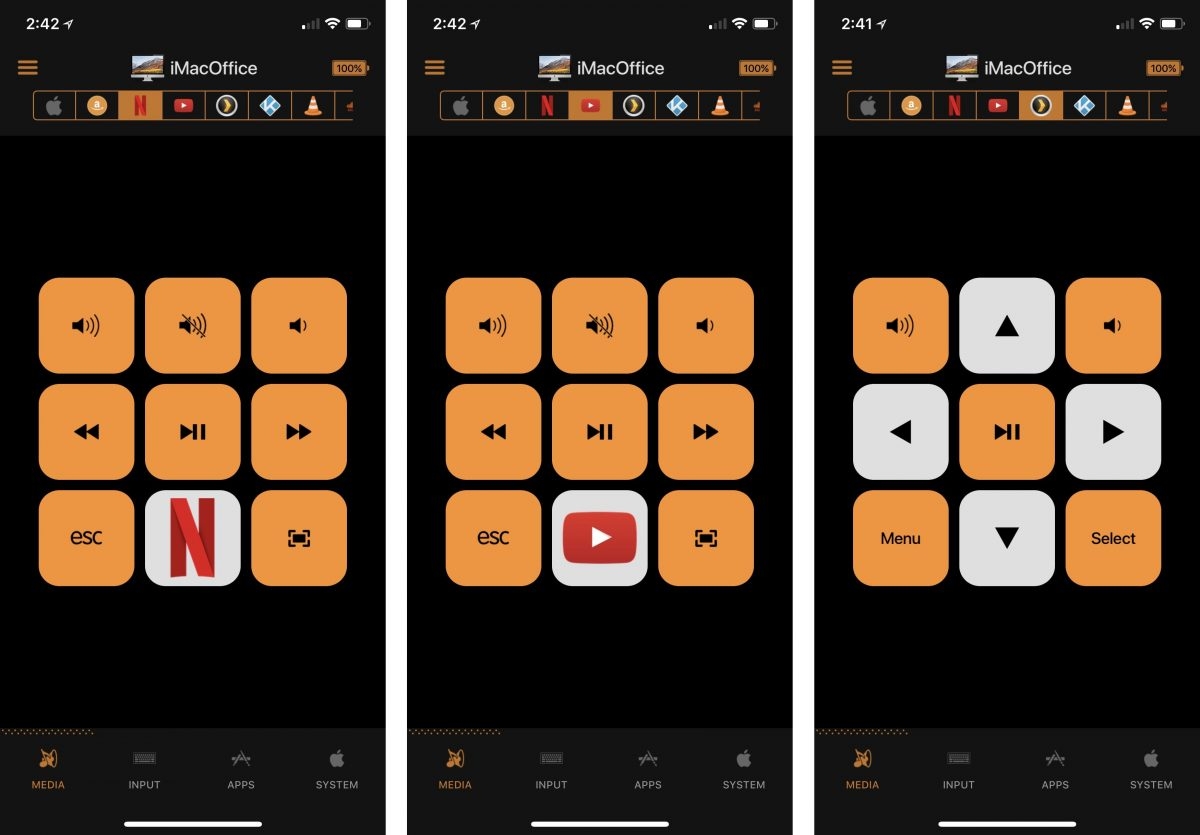 Cherpak's Remote for Mac showing Netflix, Youtube, and Plex controls