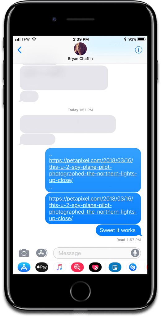 Screenshot of iMessage. Send links in iMessage by typing periods.