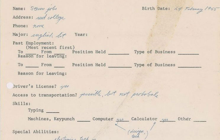 Steve Jobs's 1973 Job Application Sells for $174,757