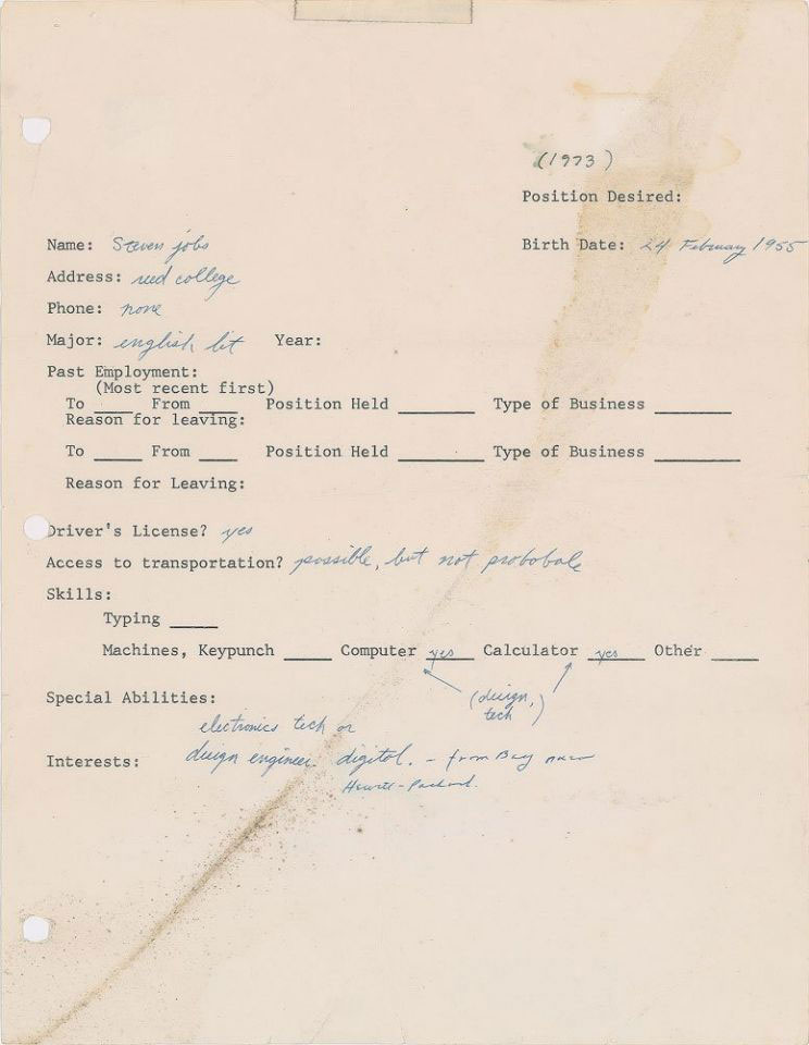 Steve Jobs application from 1973