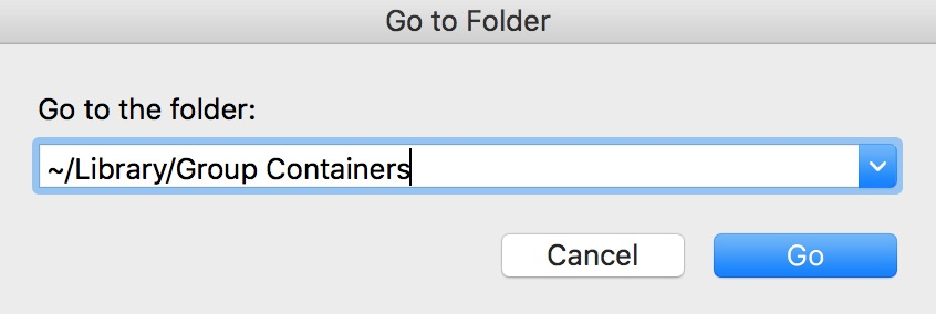"""""""Go to Folder"""" Window in macOS showing path to Group Containers"""
