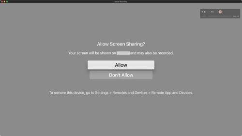 Apple TV: Allow sharing on network?