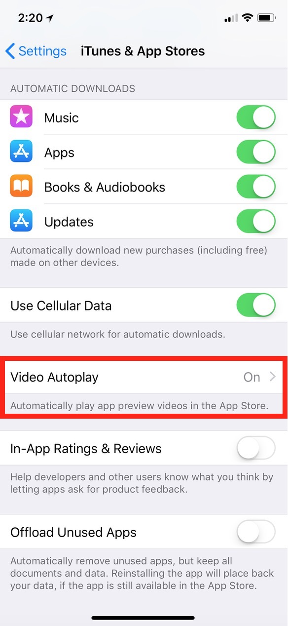 """Video Autoplay"" in iTunes & App Stores Settings on iPhone"