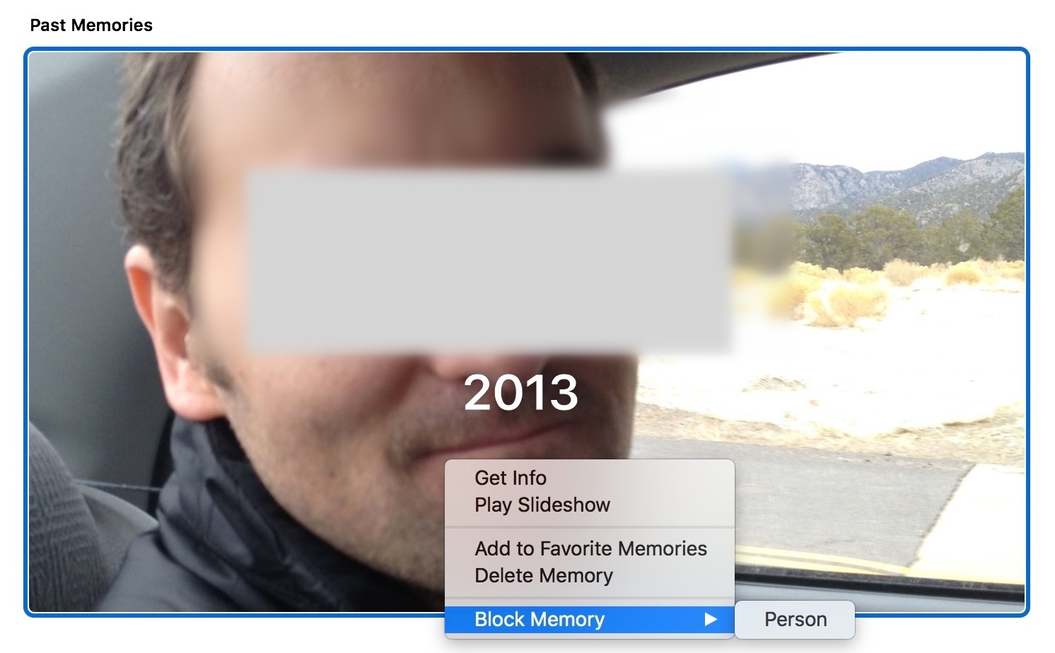 Block a Person in Photos Memory category on Mac