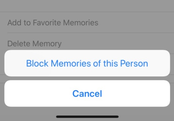 """Block Memories of this Person"" option in Photos on iOS"