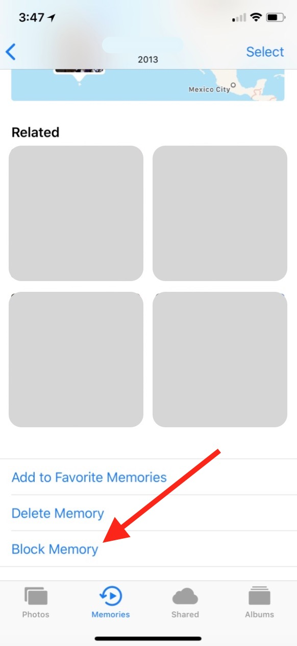 """Block Memory"" option in Photos on iPhone"