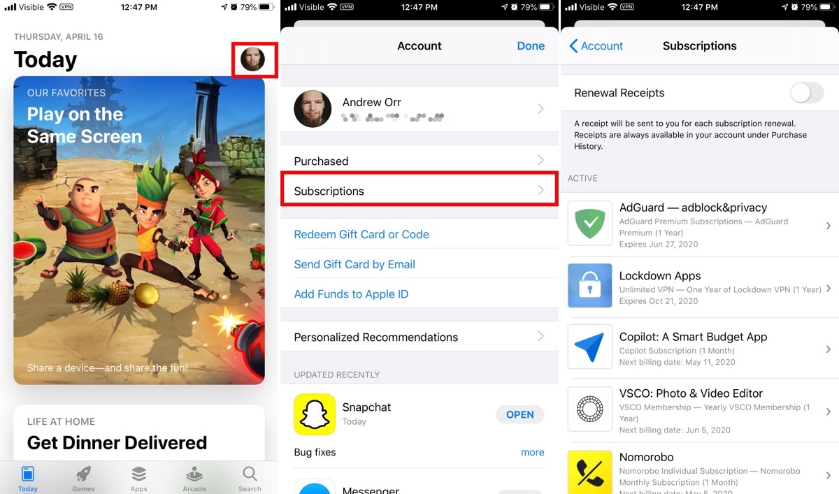Cancel iPhone app subscriptions in the App Store