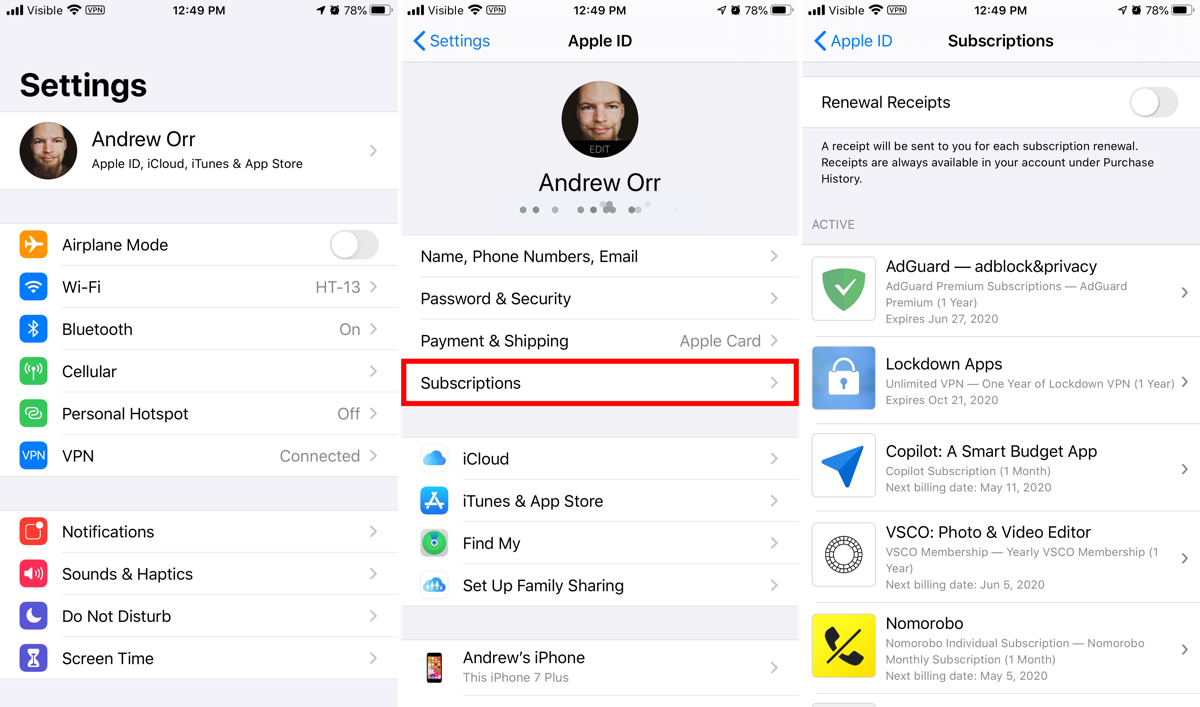 Cancel iphone app subscriptions in settings