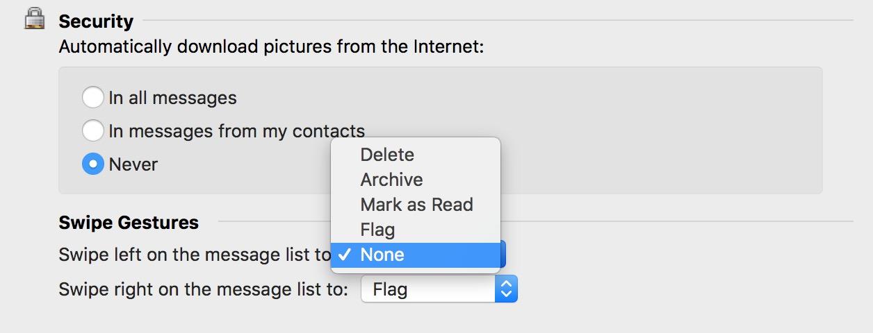Swipe Gestures' Preferences in Outlook on the Mac