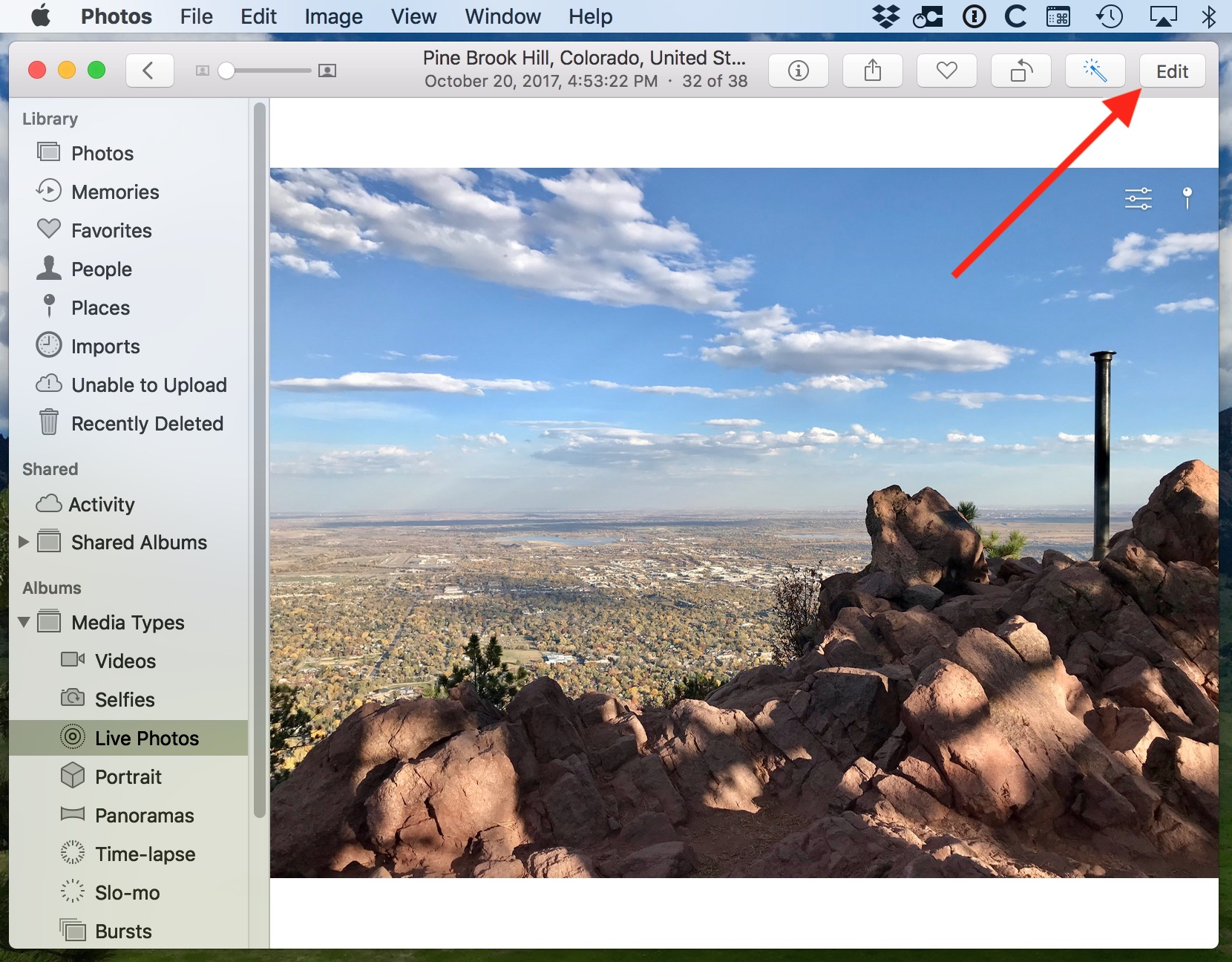 Edit Button in Photos lets you export a Live Photo as an animated GIF in Mac Photos app