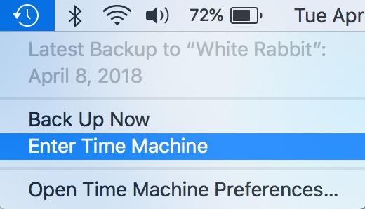 """""""Enter Time Machine"""" Choice from Mac menu bar"""