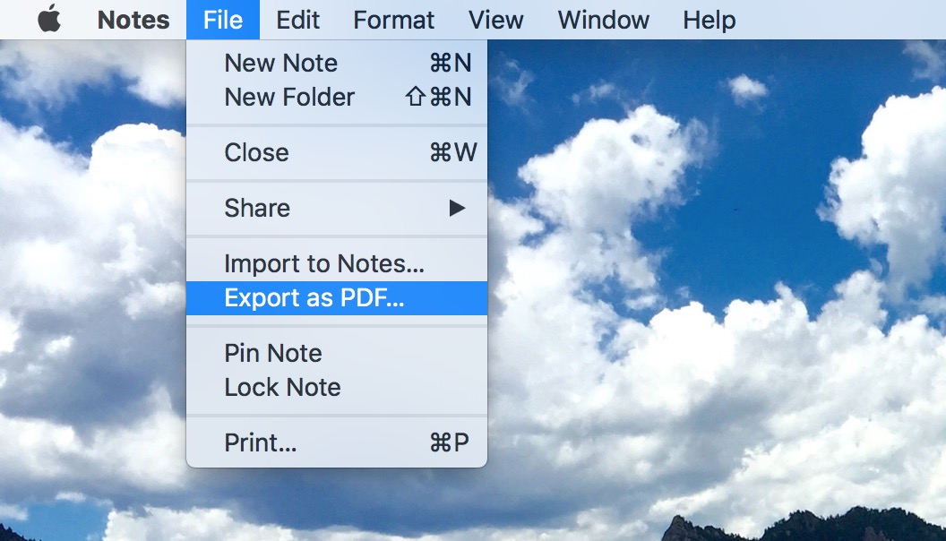 """Export as PDF"" Option in macOS Notes app saves individual notes as PDF documents"
