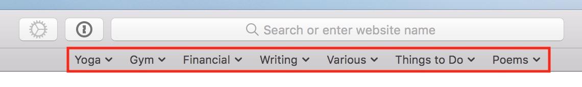 macOS Safari Favorites Bar