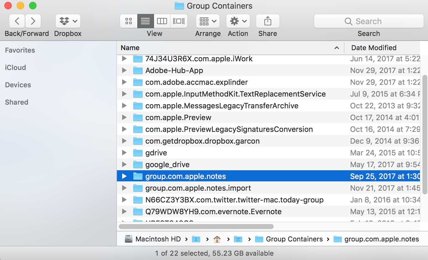 macOS Group Containers folder showing group.com.apple.notes folder